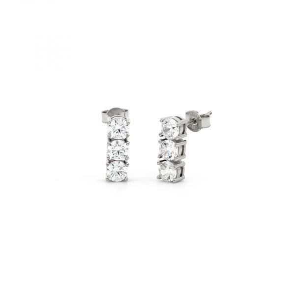 White silver Trilogy earrings