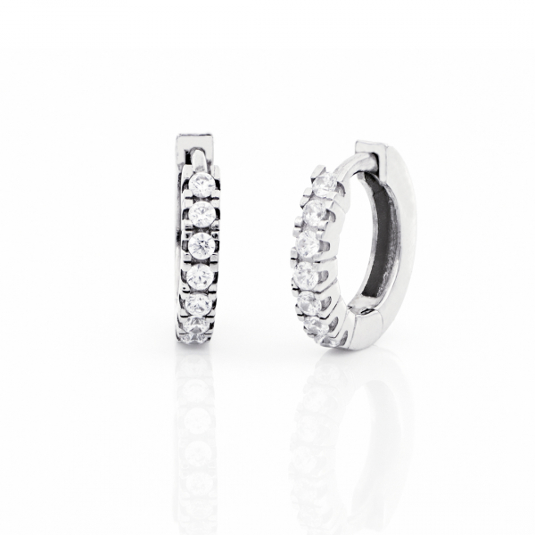 White silver earrings with cubic zirconia