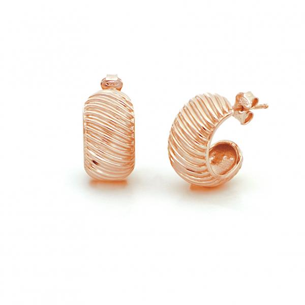 Orecchini Vortice in argento dorato rosa
