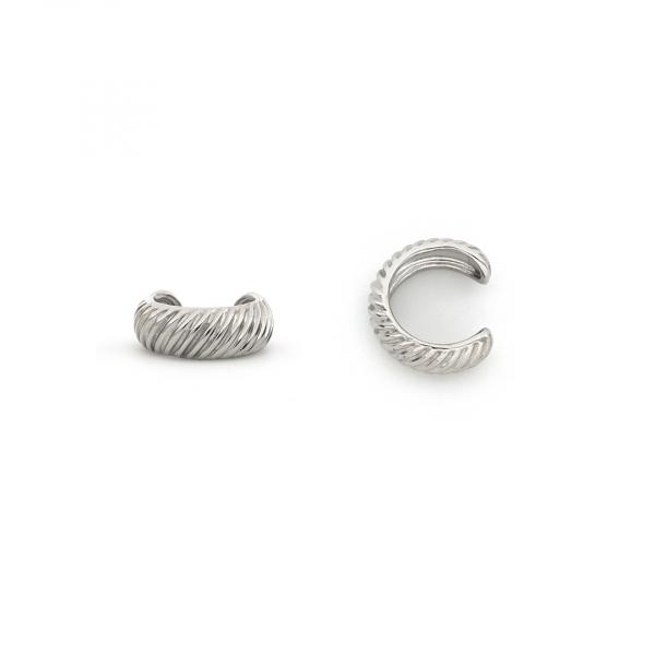 Monorecchino Ear Cuff Vortice in argento bianco