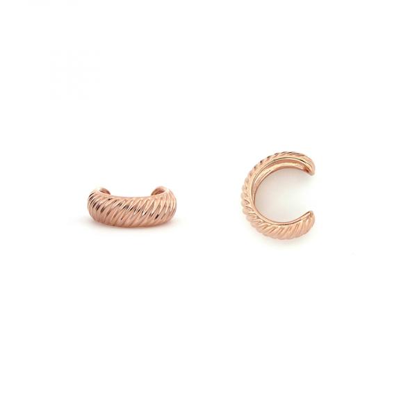 Monorecchino Ear Cuff Vortice in argento dorato rosa