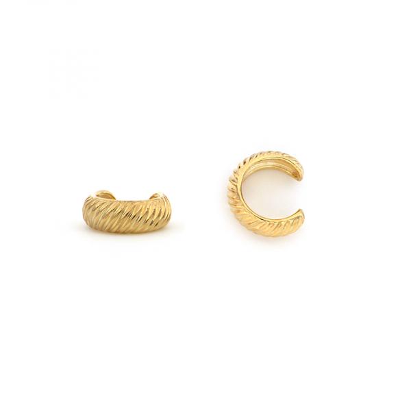 Monorecchino Ear Cuff Vortice in argento dorato