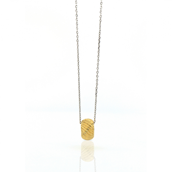 Yellow and white silver necklace with pendant