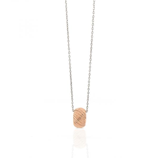 Collana in argento bianco e rosa con pendente Vortice