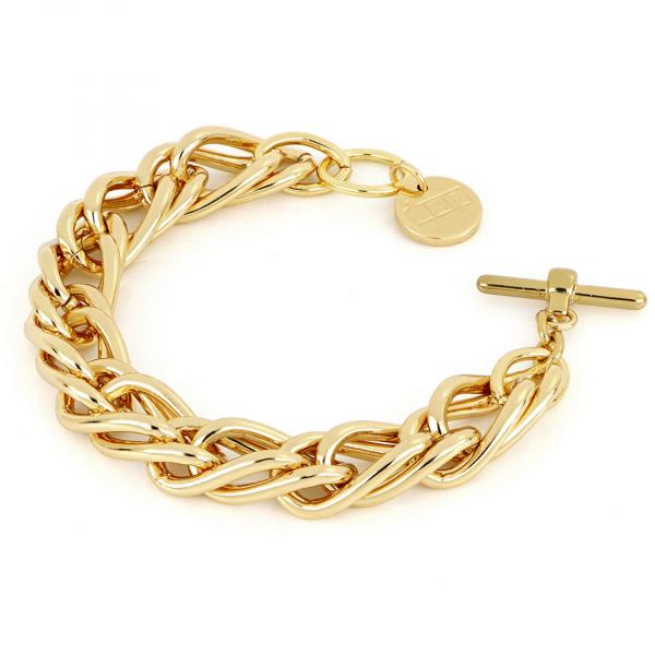 Yellow bronze bracelet with wheat chain