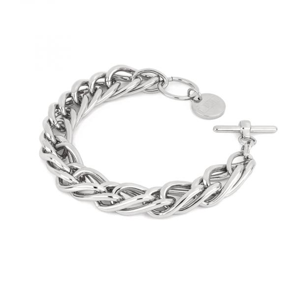 Bracciale in bronzo argentato con catena spiga