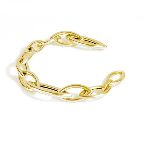 Yellow silver bracelet with navette chain