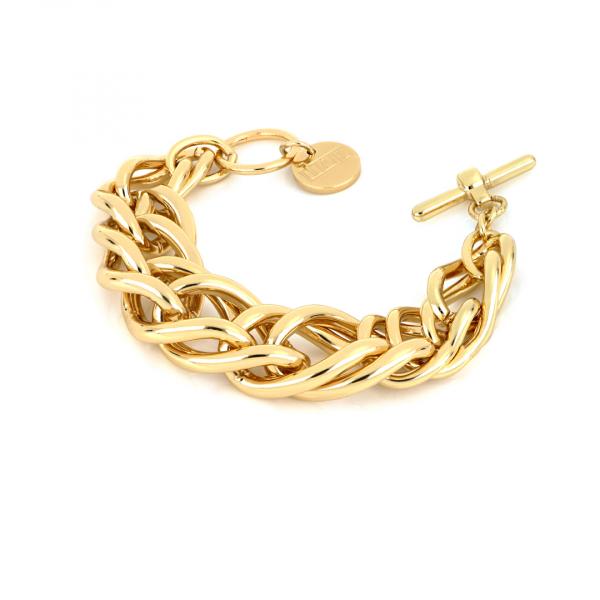 Bracciale in bronzo dorato lucido con catena spiga grande