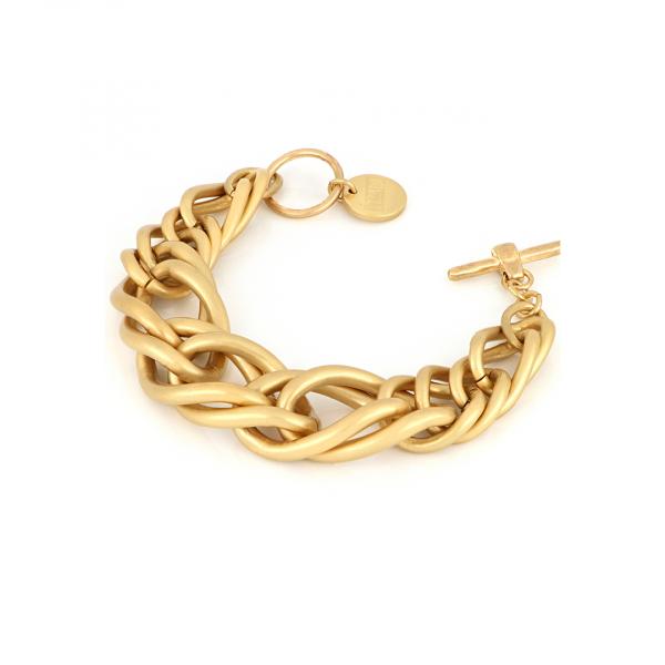 Satin yellow bronze bracelet with maxi wheat chain