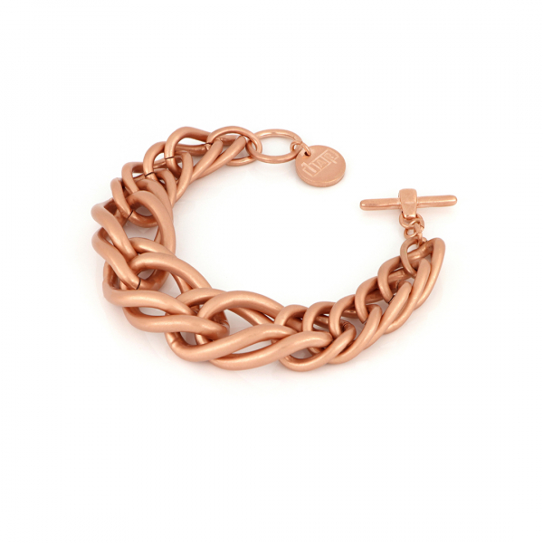 Red bronze bracelet with maxi wheat chain
