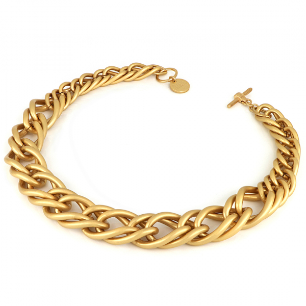 Satin yellow Maxi Twist bronze necklace