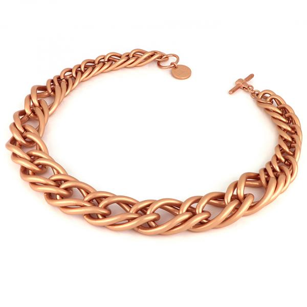 Satin red bronze Maxi Twist necklace