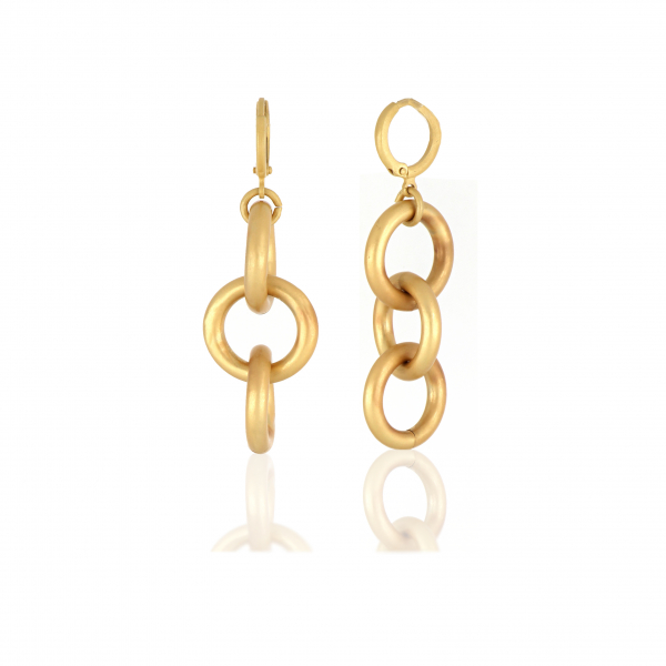 Yellow bronze chain earrings
