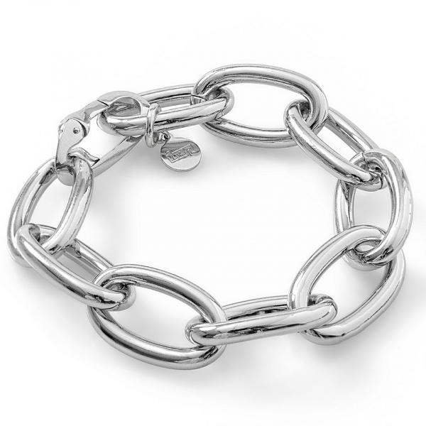 Bracciale catena forzatina in bronzo argentato lucido
