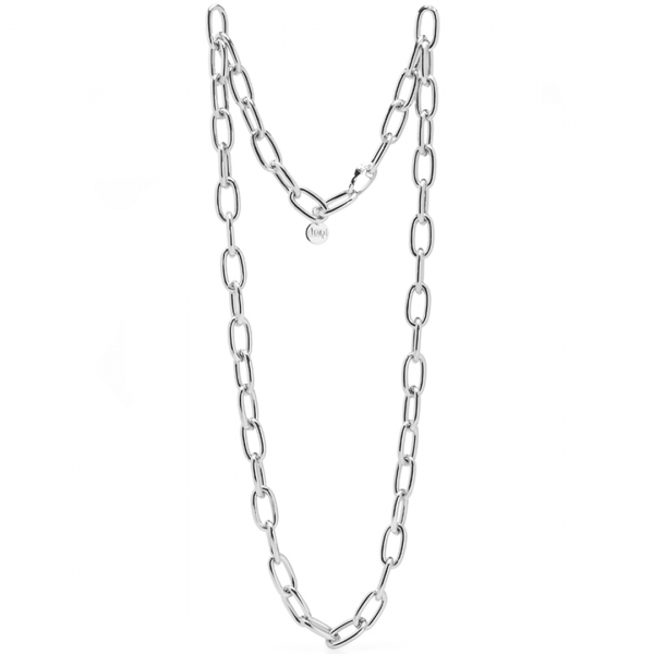 White bronze long necklace with cable chain