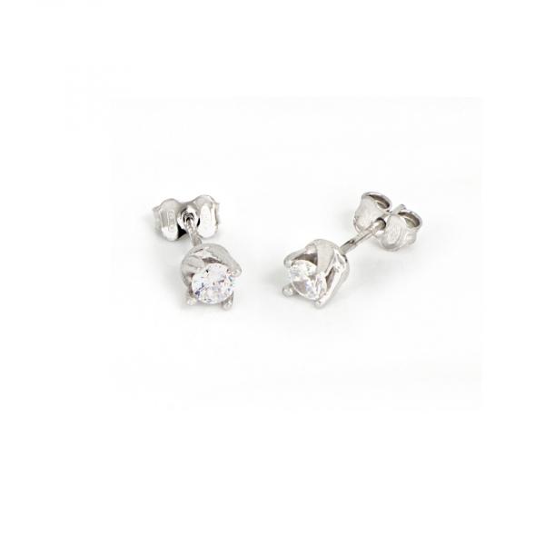White silver Mini Cubic Zirconia earrings