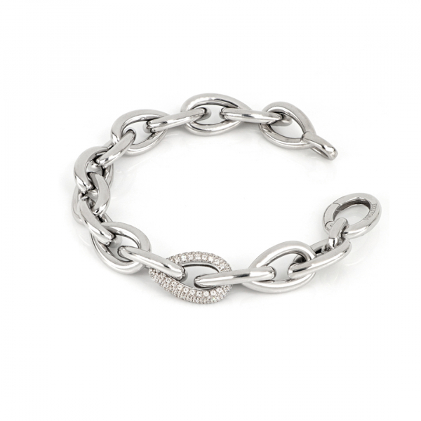 Bracciale in argento bianco con pietre zirconia cubica