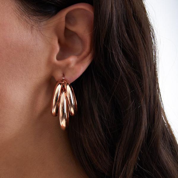 Pink bronze earrings