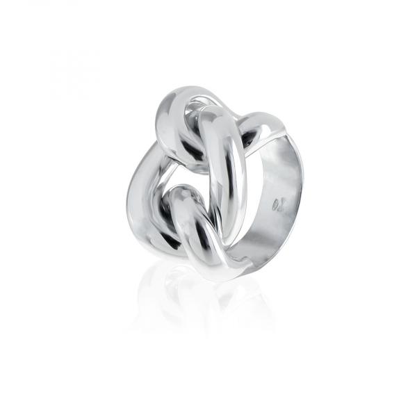 Anello in argento bianco con maxi maglia grumetta