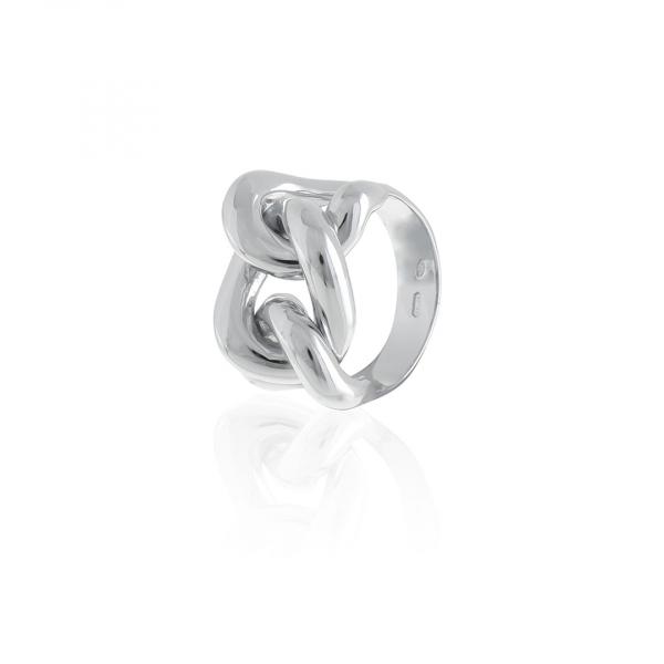 Anello in argento bianco con maglia grumetta