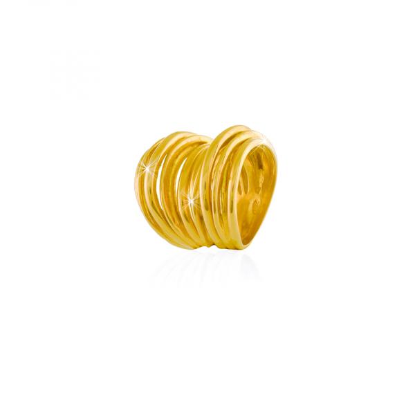 Anello Maxi Vortice in argento dorato