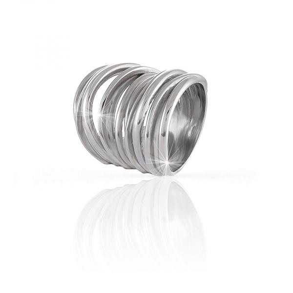 Anello Maxi Vortice in argento bianco