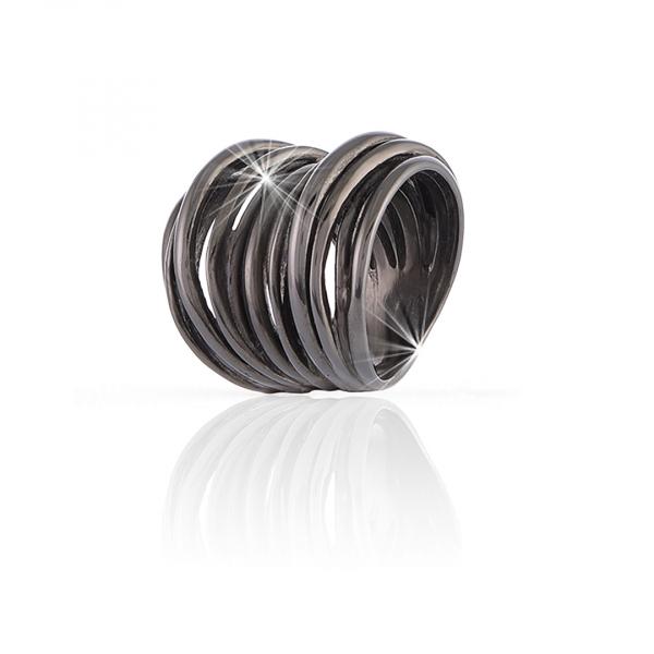 Anello Maxi Vortice in argento brunito