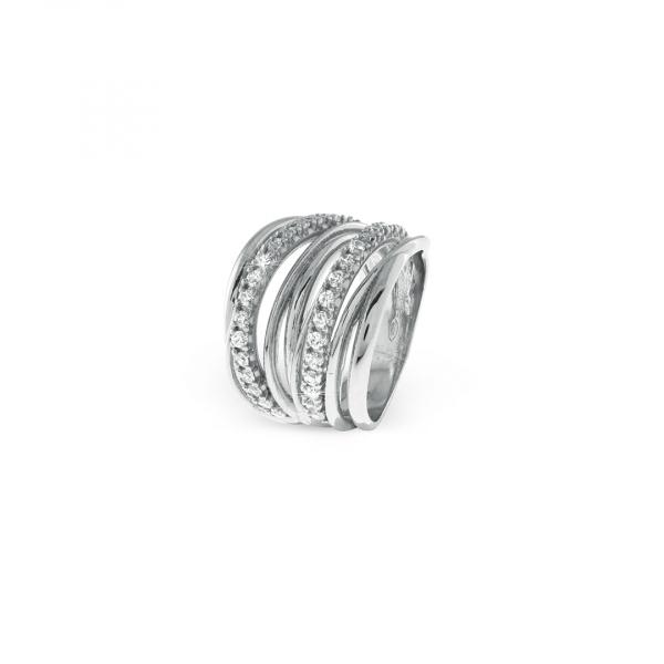 Anello Vortice in argento bianco
