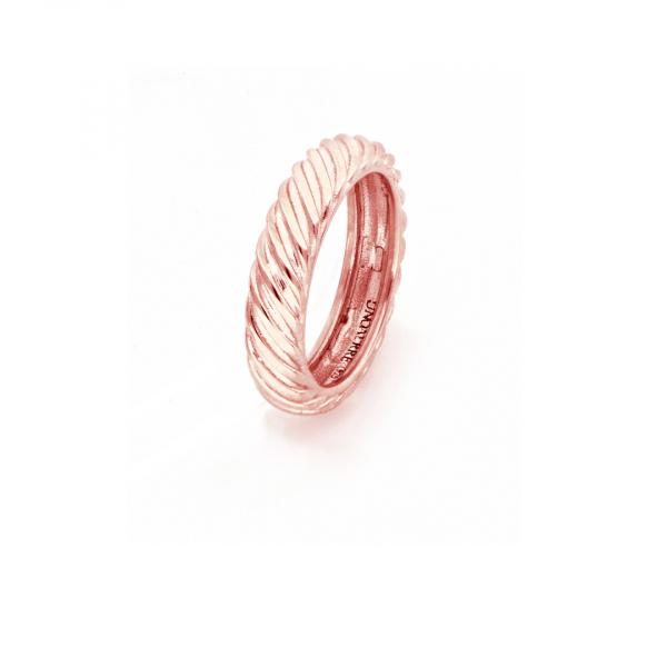 Anello Vortice in argento dorato rosa