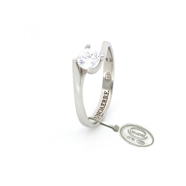 Anello Solitario in argento bianco