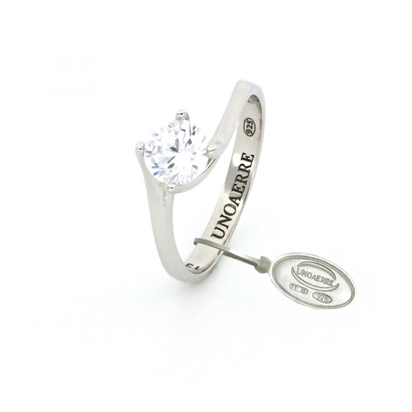 Anello Solitario Maxi in argento bianco