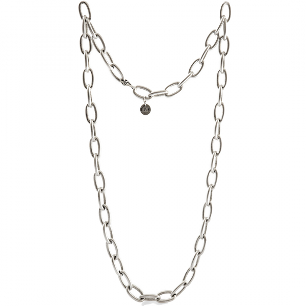 Satin White bronze long necklace with cable chain